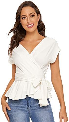 SheIn Women`s Short Sleeve V Neck Ruffle Blouse Puff Sleeve Tie Waist Wrap Top
