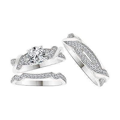 14k White Gold, Trio 3 Piece Wedding Ring Set Round Created CZ Crystals 1.0ct