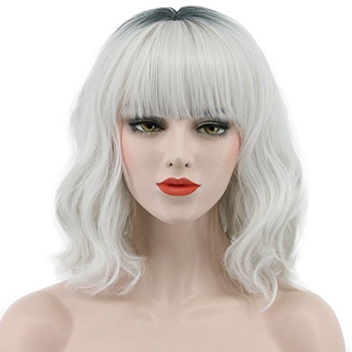 Karlery Womens Long Wave Dark Root Fashion Wig Halloween Costume Wig Anime Cosplay Party Wig -