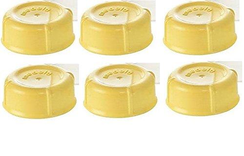 (6) Medela Solid Lids - Yellow/ solid cap/ bottle lid/ bottle solid cap - for Medela Bottles - Storage Infant Milk Medela