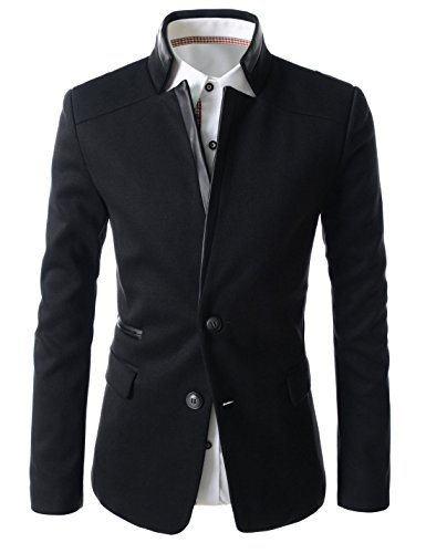 (LPJ03) TheLees Mens Slim Fit China Collar Leather Patched 2 Button Blazer BLACK US XXS(Tag size M)