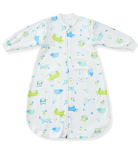 Fairy Baby Unisex Baby Detachable Cotton Sleep Bag Wearable Blanket for Spring Fall,L,Green