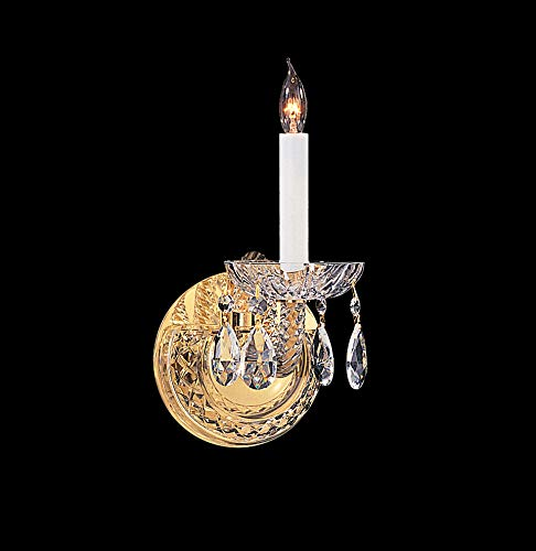 Crystorama 1121-PB-CL-S Crystal Accents One Light Wall Sconce from Traditional Crystal collection in Brass-Polished/Castfinish, 7.00 inches