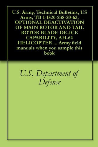 U.S. Army, Technical Bulletins, US Army, TB 1-1520-238-20-62, OPTIONAL DEACTIVATION OF MAIN ROTOR AND TAIL ROTOR BLADE DE-ICE CAPABILITY, AH-64 HELICOPTER ... field manuals when you sample this book