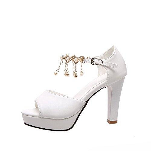 Boucle d'orteil Cuir Unie Couleur Blanc PU Sandales Ouverture Femme AgooLar xY0ZqRf