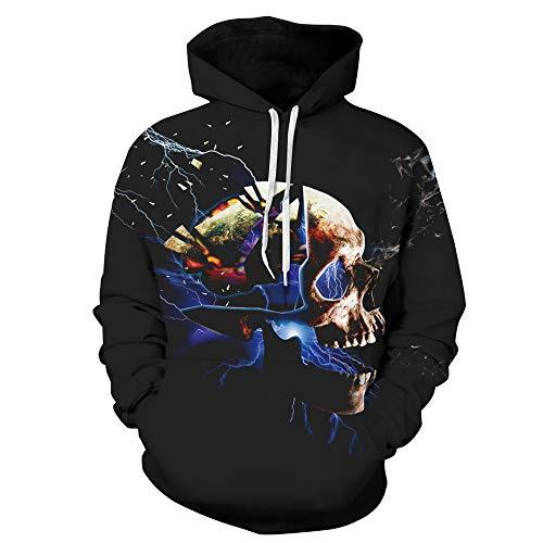 TWGONE Womens Tops Halloween Couples Gifts Skeleton 3D Print Long Sleeve Hoodie Sweatshirt Pullover (US-12/CN-XL,Black) for $<!--$8.90-->
