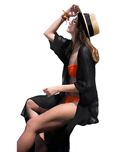 Bestyou Women's Beach Cover up Tunic Solid Maxi Dress Kimono Cardigan XS-M (B-Black)