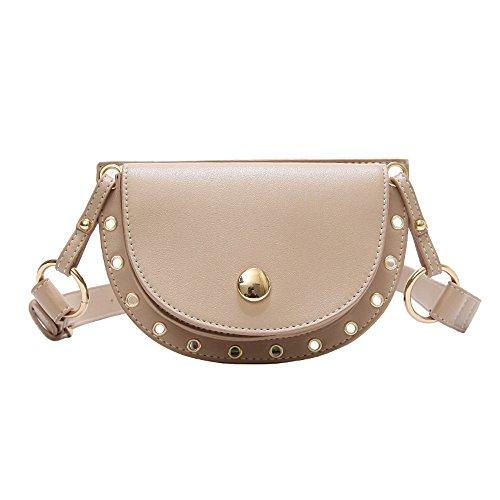 Zbella Crescent, Grommet Detailed, Mini Cross Body Saddle Handbag (Khaki)