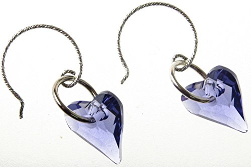 Handmade Earrings Swarovski Crystal Heart Purple Amethyst with Sterling Silver Ear Wires