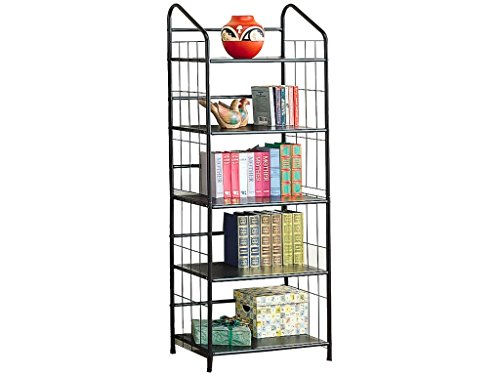 - 5-shelf Metal Bookcase Black