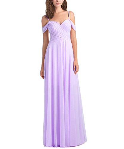 Geshun Chiffon Off The Shoulder Ruched Lavender Bridesmaid Dresses Long Formal Prom Dress For Women US18W
