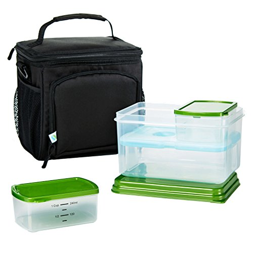 Fit & Fresh Meal Prep Insulated Cooler Bag with Lunch-On-The-Go Container Set, Adjustable Shoulder Strap, Leak Proof Portion Control Containers, Reusable Ice Pack, Black