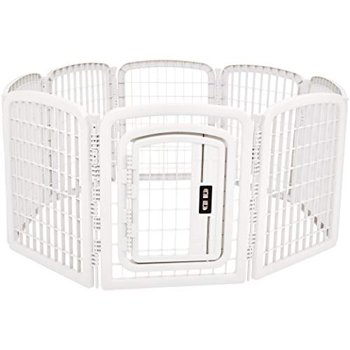 AmazonBasics 8-Panel Plastic Pet Pen Fence Enclosure With Gate - 59 x 58 x 28 Inches, White
