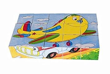 WÜRFELPUZZLE PUZZLE 16 WÜRFEL TIERE HOLZ Holzspielzeug  Kinderland Holzspielzeug