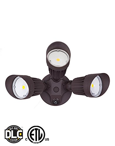 LED Outdoor Security Flood Light with Dusk to Dawn Photocell Sensor, 30W, 3 Head, Brown Color Light, Garage, Front, Back Yard, Porch 5700K