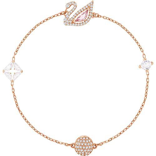 Multi Gold Bracelet Colored - Swarovski Dazzling SWAN Bracelet, Multi-Colored, Rose Gold Plating, 5472271