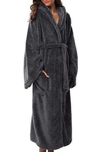 1stmall Fleece Robe, Long Hooded Bathrobe for Women's with Soft Velvet Bathrobe, Black L