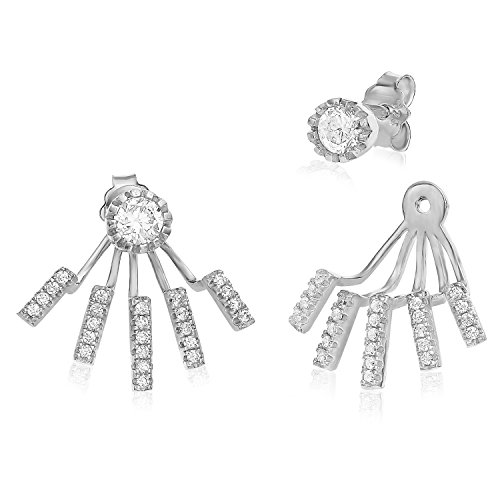 Sterling Silver Spider Tentacles Front Back 2 in 1 Cubic Zirconia Stud and Ear Jacket Earrings Set