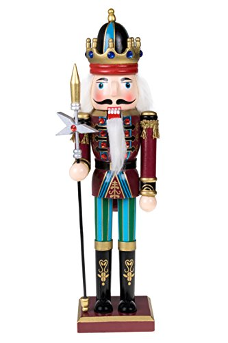 King Nutcracker | Traditional Christmas Decor | Carrying King's Royal Scepter | Wearing Blue Pants | Perfect for Any Collection | Perfect for Shelves and Tables | 100% Wood | (Wizard Staff For Sale)