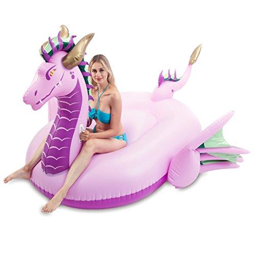 QOOLSHOW Giant Inflatable Majestic Dragon Pool Float, Fun Beach Floaties, Swim Party Toys, Pool Island, Summer Pool Raft Lounge for Adults & Kids