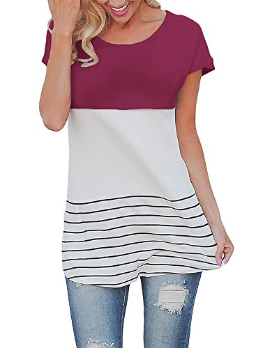 SEENFUN Women's Color Block Striped Patchwork Short Sleeve T-shirt Tunics Blouse Tops (Red) L