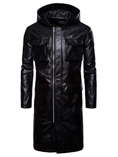 Lungo Antivento Cappotto L'autunno In Abbigliamento Giacca Moda Casual Tratto Giacca Nera L'inverno E Caldo Pelle Incappucciati Da Vento Uomo A RXwxxSOq