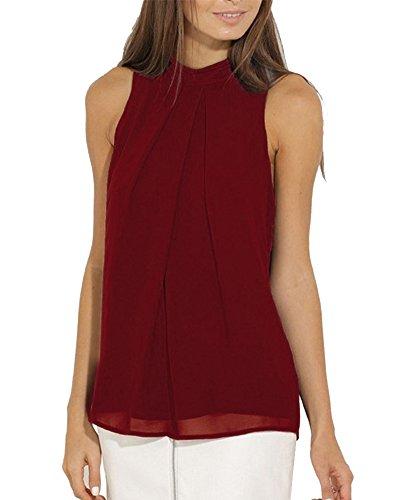 Shirts Vino Maniche Canotte Rosso Senza Top Donne Camicie Bluse 6RPSqS