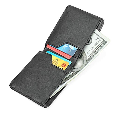 Uomo blu Nero Con Vera Credito Carta Slim Di Portamonete Portafoglio Rfid Casual Fermasoldi Blocking Wallet Pelle Sucastle 51UTwqS