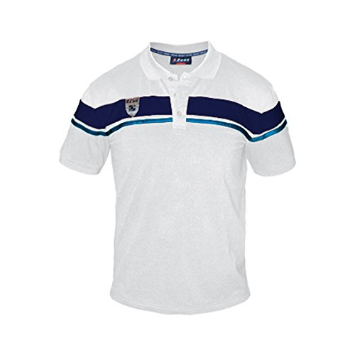 Zeus Herren Polo Shirt Training Fußball Fitness Sport POLO ACHILLE WEISS BLAU ROYAL (XXL)