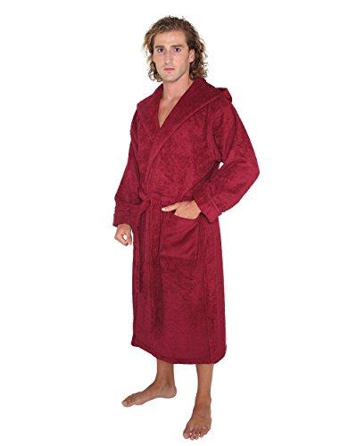 """Arus - Albornoz ' robe'n campana """"por medio de hombres y mujeres, 100% algodón, largo, con capucha de dos capas Burdeos"""
