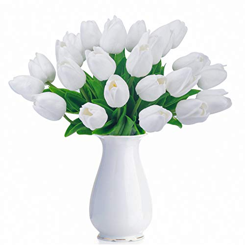 (Bomarolan Artificial Tulip Fake Holland Mini Tulip Real Touch Flowers 24 Pcs for Wedding Decor DIY Home Party (White))