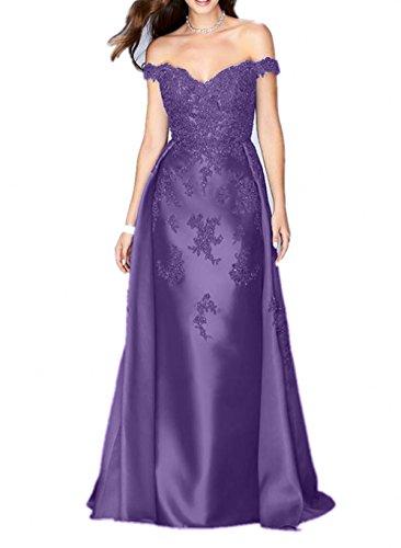 Festlichkleider La Satin Abendkleider Brautmutterkleider Flieder Dunkel  Schulterfrei Etuikleider Abschlussballkleider Braut mia Fuchsia Lang  wWSc64qpSg ... 7349914a7f