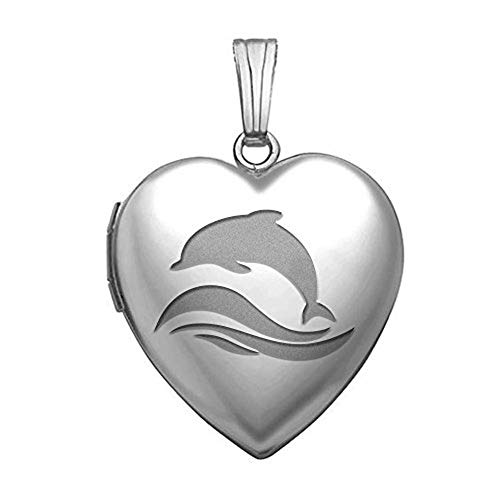 PicturesOnGold.com Sterling Silver Dolphin Heart Locket - 3/4 Inch X 3/4 Inch in Sterling Silver