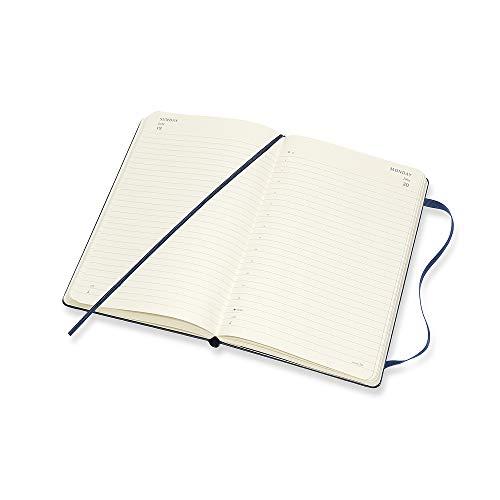 Moleskine - Agenda diaria de 12 meses 2020, tapa dura y goma elástica, color azul zafiro, tamaño grande 13 x 21 cm, 400 páginas
