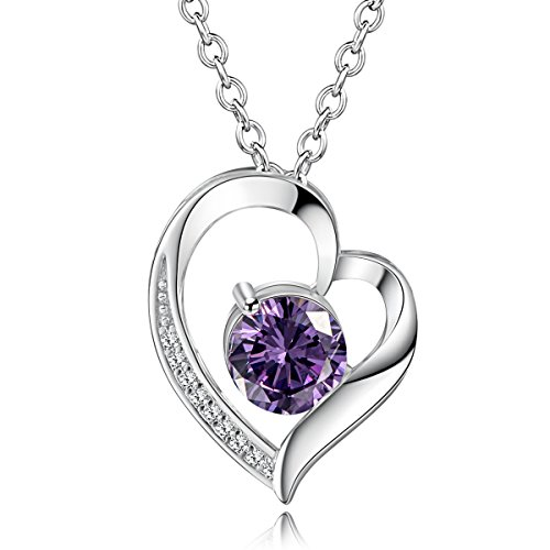 Katon Women Sterling Silver Necklaces 925 Silver Purple Cubic Zirconia Pendant - Co Tiffany And Near Me