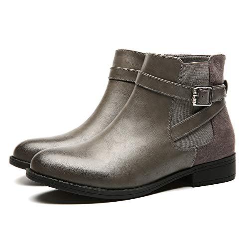 Printemps Plates Boots Fourrure Neige Velour 1 Chelsea Bottines Plats Confortable Chaussures De Fourrée Hiver Gris Bottes Ville Noir Femmes Gracosy Talons Intérieur AvqF8IAx