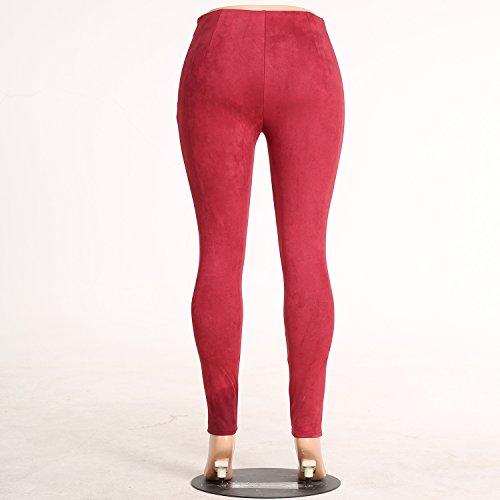 Suède Femmes Monika Rouge Skinny Haute Crayon Pantalon Taille Pants Vin Fashion Leggings Pantalons Longue XwwgRq
