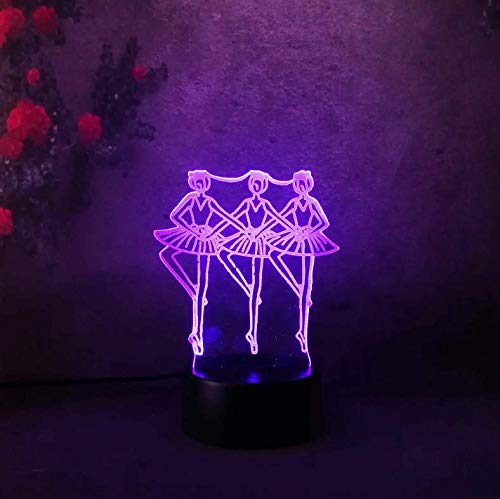 Buntes 3D Nachtlicht Three Girl Dancing Balle Led For Children Baby Kid Toy Touch 7 Color Light Bedroom Table Lamp…
