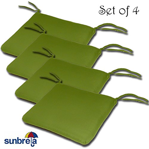 5429 Sunbrella (SET OF 4 20W x 19Dx 2.5H Sunbrella Indoor/Outdoor Knife Edge style seat pad cushion in Macaw by Comfort Classics Inc. Made in USA)