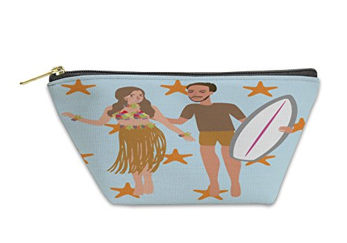Gear New Accessory Zipper Pouch, Man Woman Dancing Hawaii While Holding Surfing Board, Small, 5620573GN by Gear New
