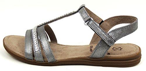JANA Damen Sandale Weite H pewter LEDER Klett und Gummizug 28114 pewter 915