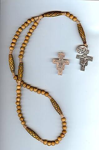 Franciscan Rosary Wood San Damiano Cross Prayer of St Francis on Back of Cross - Franciscans San Damiano