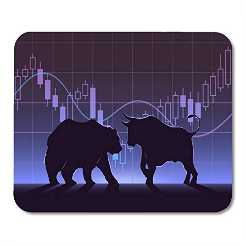 Nakamela Mouse Pads Black Street Stock Exchange Trading The Bulls and Bears Struggle Equity Market Concept Modern Flat Design Mouse mats 9.5