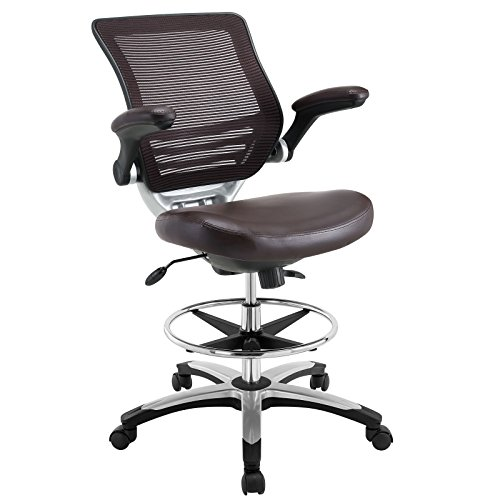 Modway Edge Drafting Chair In Brown - Reception Desk Chair - Tall Office Chair For Adjustable Standing Desks - Flip-Up Arm Drafting Table Chair (Brown Edge)