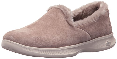 Skechers Women's Go Step Lite-Fuzzies Loafer Flat Taupe