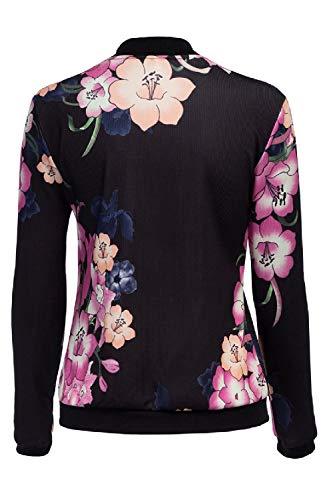Jacket Baseball Vetrothales Women Schwarz Jacket Printed Elegant Printemps Automne XXw4Yq