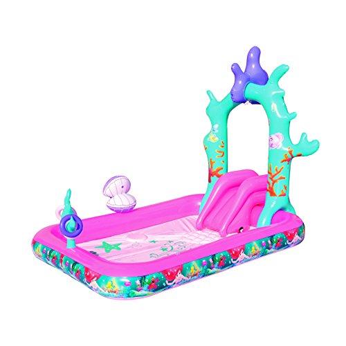 Bestway 91051 - Planschbecken Disney Princess Arielle interaktiver Pool mit Sprinklern, Rutsche und Ringwurfspiel, 249 x 168 x 180 cm