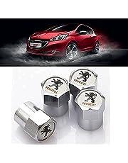 4 Stuks Metalen Auto Wiel Banden Ventieldopjes voor Peugeot 206 207 208 307 308 107, Auto Waterdicht Stofdicht Anti-roest Afdichtring Ventieldoppen Decoratie Accessoires