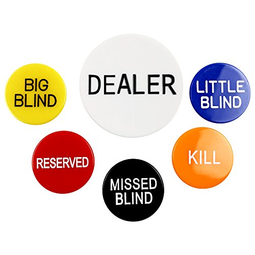 YH Poker Set of 6 Professional Casino Texas Holdem Poker Dealer Buttons