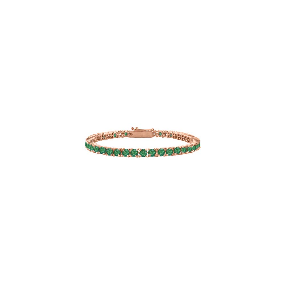 Created Emerald Tennis Bracelet in 14K Rose Gold Vermeil. 10CT. TGW. 7 Inch